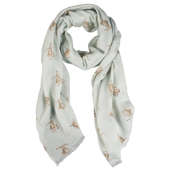 Wrendale Leaping Hare Scarf with Gift Bag