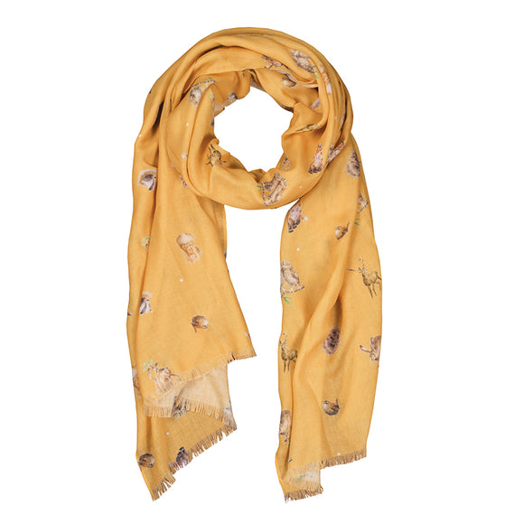 Wrendale Mustard 'Woodlanders' Scarf with Gift Bag