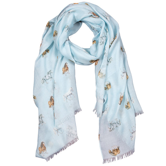 Wrendale 'Feathers and Forelocks' Horse Scarf with Gift Bag