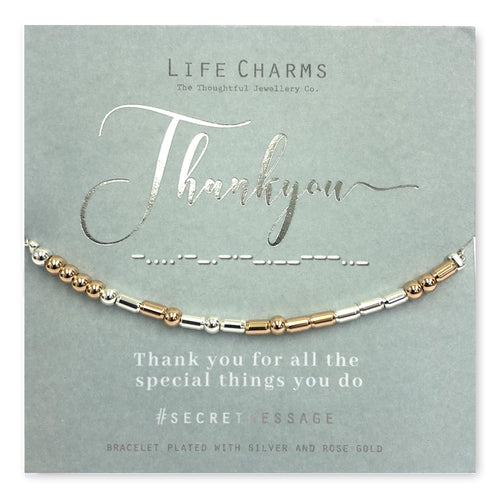 Life Charms Secret Message Thank You Bracelet