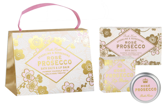 Bath House Rose Prosecco Handbag Pamper Gift Set 100g Bath Salts and 15g Lip Balm