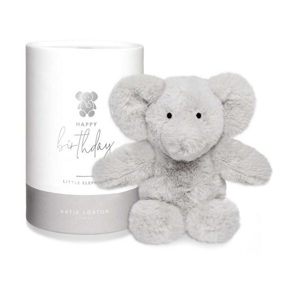 Katie Loxton Elephant Baby Toy Happy Birthday Grey