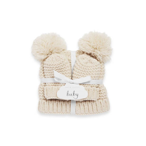 Katie Loxton Baby Hat and Mittens Set Cream