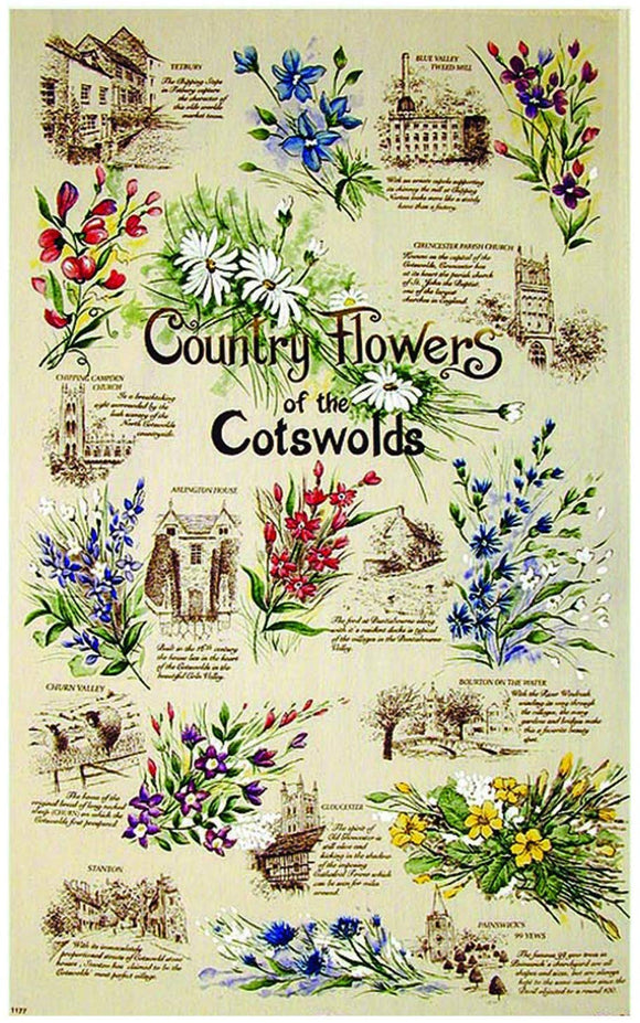 Stow Green Country Flowers of the Cotswolds Tea Towel