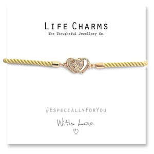 Life Charms EFY CZ Rose Gold Joined Hearts Bracelet - Gifteasy Online