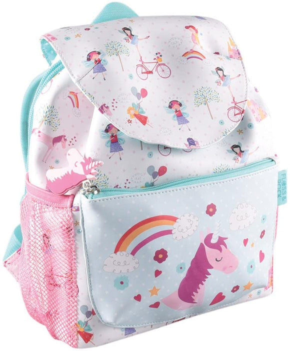 Floss & Rock Cute Childrens Toddlers School Pre-School Backpack with 2 Pockets and Waterbottle Holders (Unicorn)
