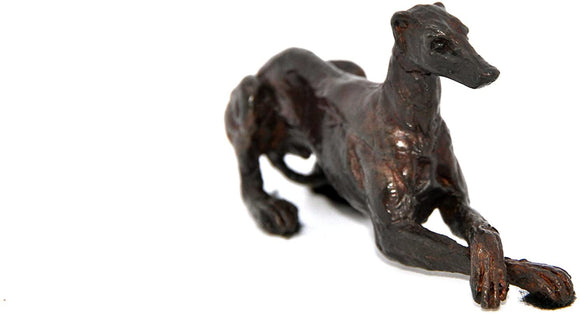 Unique Bronze Greyhound Cross Legged Resting