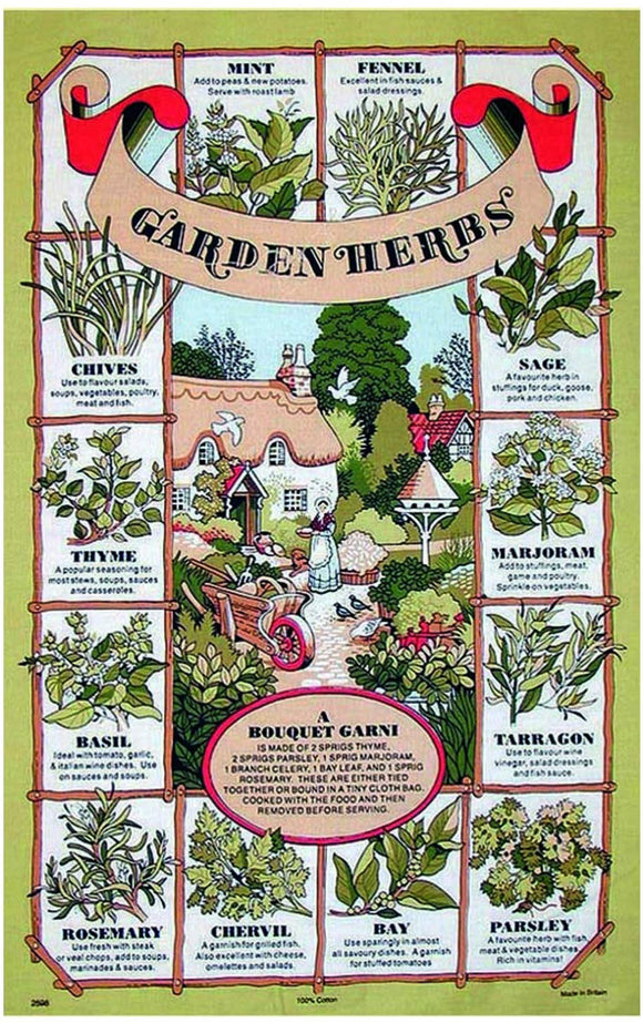 Stow Garden Herbs Cotton Tea Towel
