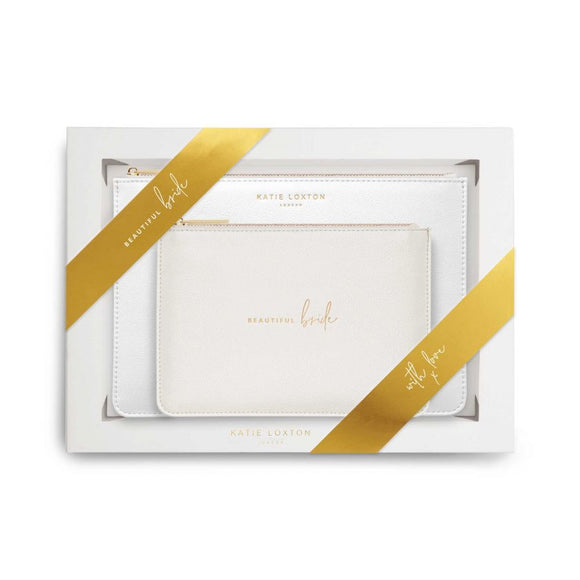 Katie Loxton Bridal Perfect Pouch Gift Set Beautiful Bride Metallic White - Gifteasy Online