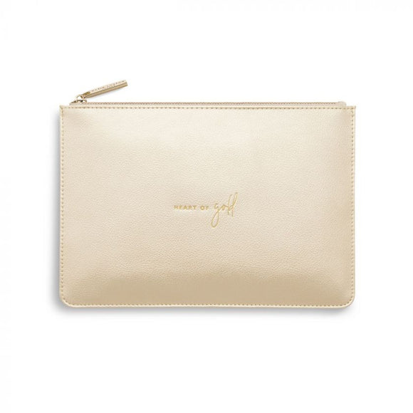Katie Loxton  Perfect Pouch | Heart Of Gold | Metallic Champagne - Gifteasy Online