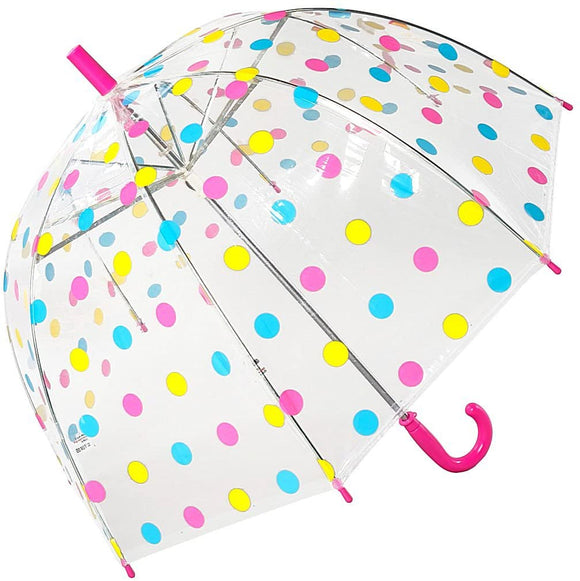 Susino Childrens Clear Dome Umbrella Polka Dot Design