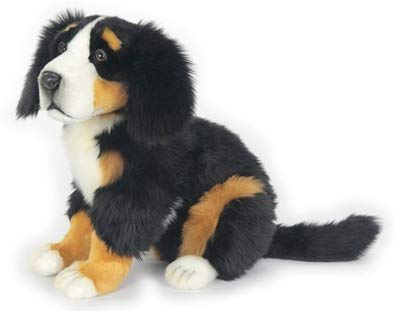 Sitting Bernese Mountain Dog Puppy Plush Soft Toy by Hansa 56cm. 6855