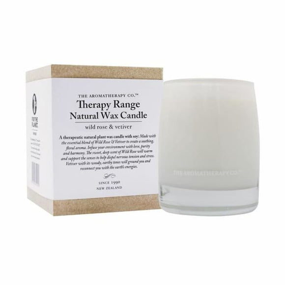 Aromatherapy Therapy Range Scented Wax Candle Wild Rose and Vetiver