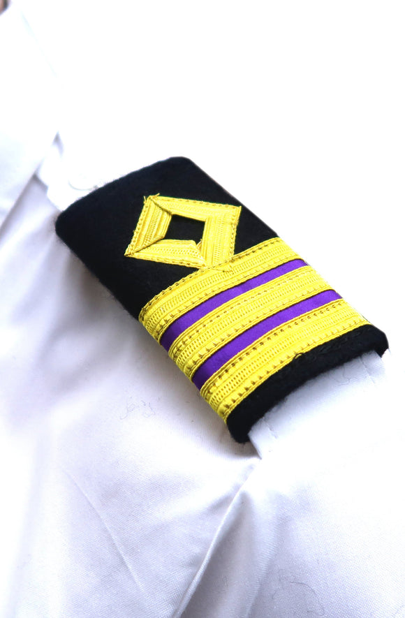 Royal Navy-Professional Mariner Epaulettes 3 bars-Second Engineer-Blazer Cloth