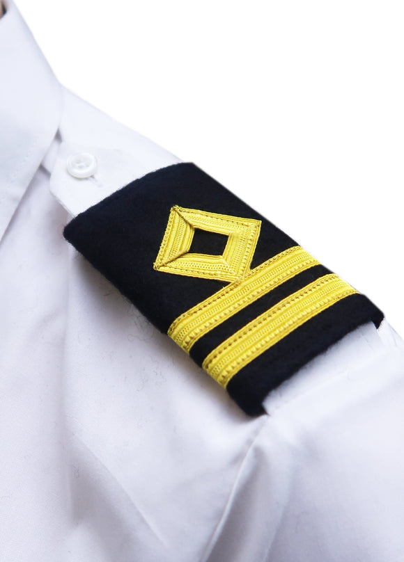 Royal Navy-Professional Mariner Epaulettes 2 bars-Second Officer-Blazer Cloth