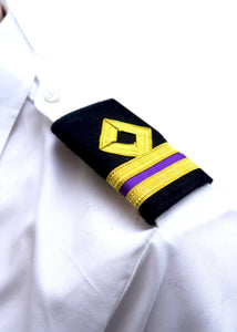 Royal Navy-Professional Mariner Epaulettes 2 bars-Third Engineer-Blazer Cloth