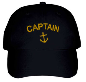 CAPTAIN'S CAP-Embroidered-Black