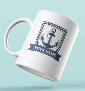 Designer Mug-Anchor Badge + Your Name