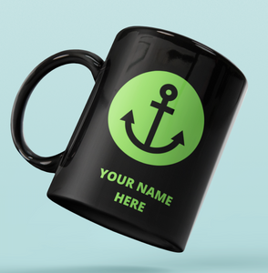Designer Mug-Green Simple Anchor+Your Name