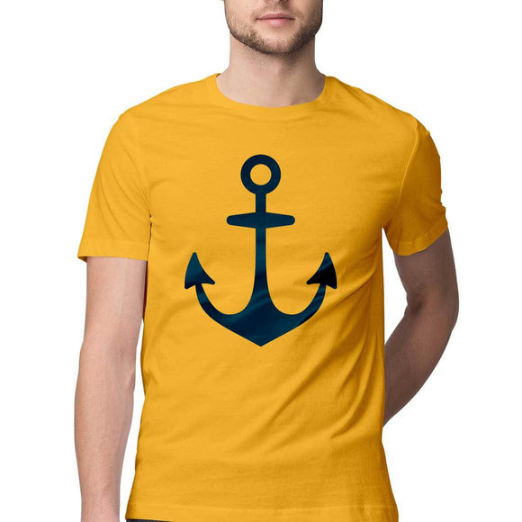Nautical T-shirt with anchor logo-Yellow