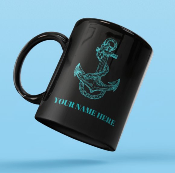 Designer Mug-Green anchor+Your Name