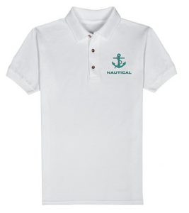 Nautical T-Shirt-White-Green Embroidery