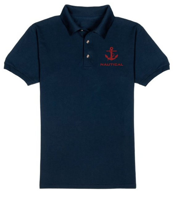 Nautical T-Shirt-Navy Blue-Red Embroidery