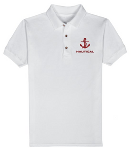 Nautical T-Shirt-White-Red Embroidery