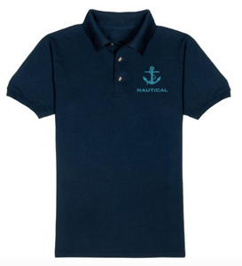 Nautical T-Shirt-Navy Blue-with blue embroidery