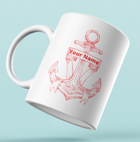 Designer Mug-Red  Anchor+Your Name
