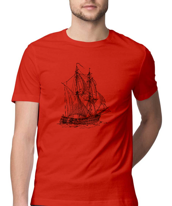 Nautical T-shirt Sailing vessel-Red