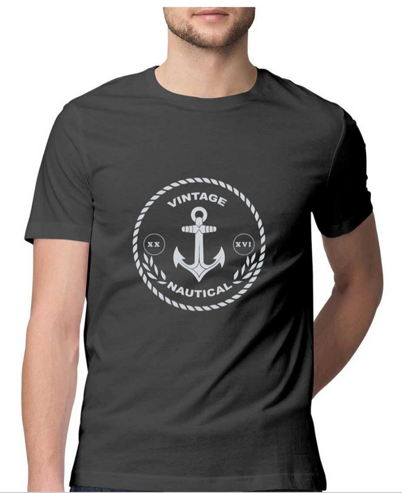 T-shirt-Vintage Nautical-Charcoal Grey