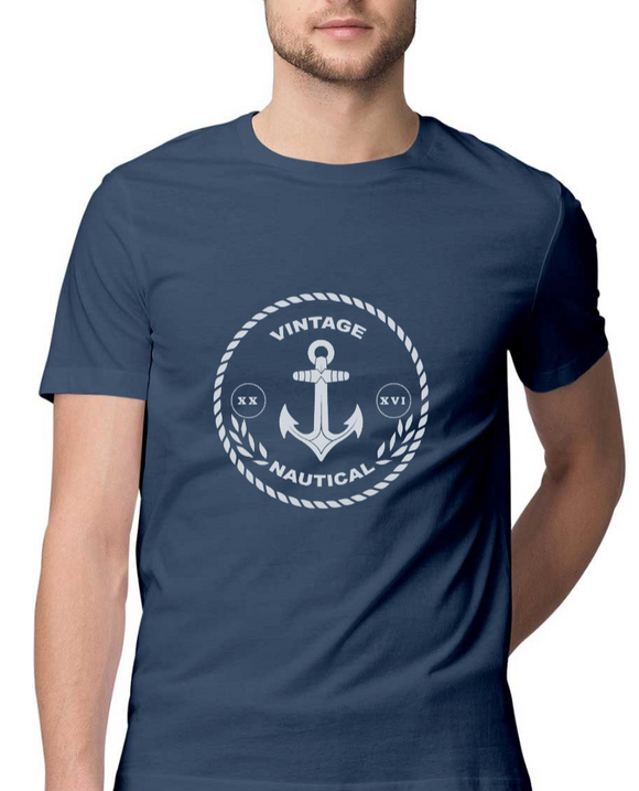 T-shirt-Vintage Nautical-Navy Blue