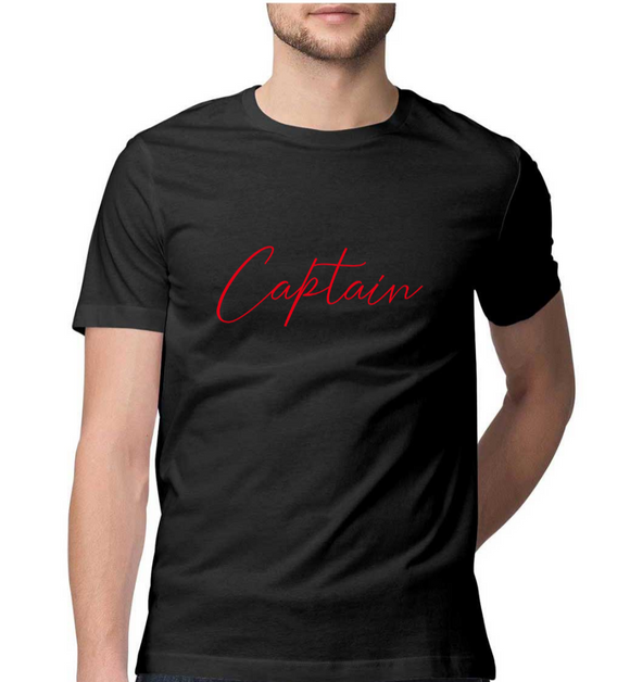 Nautical T-shirt-CAPTAIN-Black
