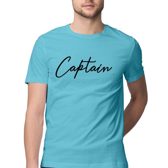 Nautical T-shirt-CAPTAIN-Skyblue
