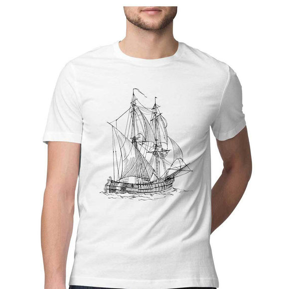 Nautical T-shirt Sailing vessel-White