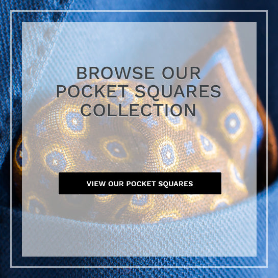 brown and blue pocket square