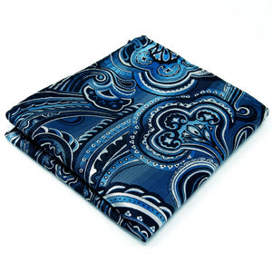 Blue Grey Paisley Pocket Square