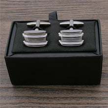 Two Bar Inlay Square Cufflinks