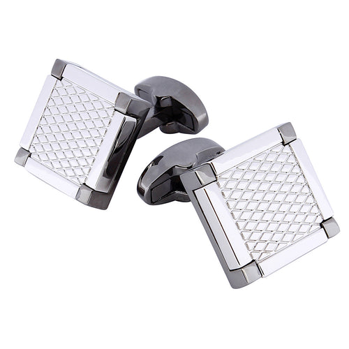 Gunmetal Patterned Square Cufflinks