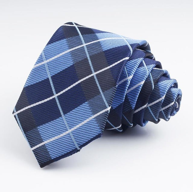 Navy Plaid Woven Skinny Tie