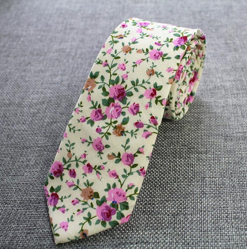 Rose Floral Cotton Skinny Tie