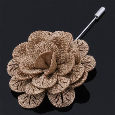 Cappuccino Woven Flower Lapel Pin