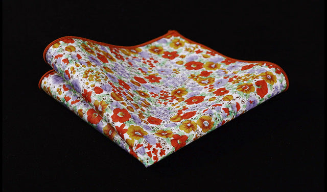 Orange Floral Cotton Pocket Square