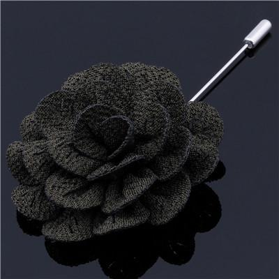 Charcoal Woven Flower Lapel Pin