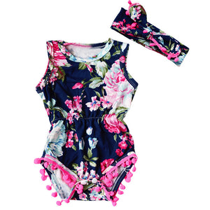 Girls Romper flower Printed Newborn Toddler Baby Girls Floral Romper Jumpsuit Sunsuit Clothes Set