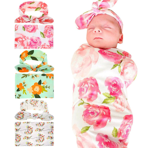 Floral swaddle blanket and headband