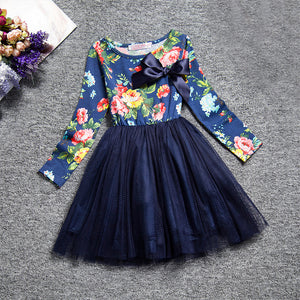 Girls Long Sleeve Flower Dress