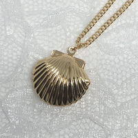 Mermaid Gold Sea Shell Locket Necklace