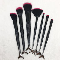 Black Mermaid Tail 7pc Makeup Brush Set